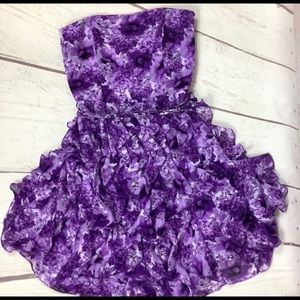 WHBM Purple Floral Strapless Ruffle Belted Dress